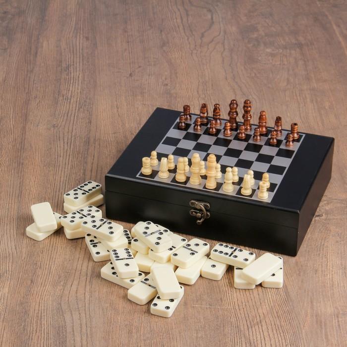 Набор шахмат с домино, костяшка белая 4,8 × 2,4 см, пешка 2 см, король 4,7 см