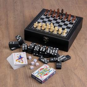 Набор шахмат с домино, костяшка 5 × 2,5 см, 2 колоды карт, пешка 2 см, король 5см