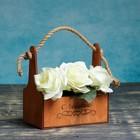 Ящик-кашпо флористическое 22х14х25см, Гравировка 1 с джутовой ручкой, палисандр