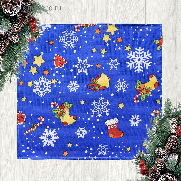 Полотенце вафельное Адель «Новогоднее настроение» синее 45х50см, 100% хлопок, 160гр/м2