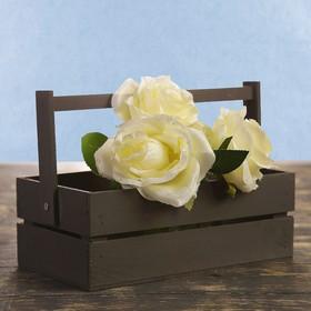 Кашпо флористическое из двух реек, складная деревянная ручка, чёрное, 24,5х13,5х9см