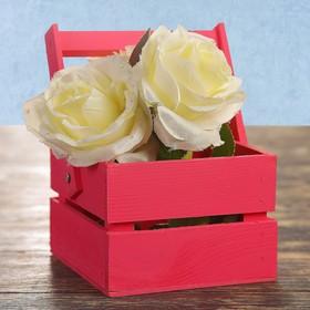 Кашпо флористическое из двух реек, складная деревянная ручка, розовое, 11х12х9см