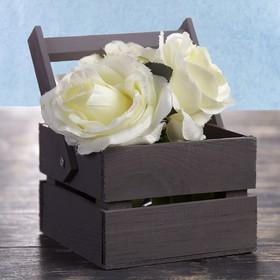 Кашпо флористическое из двух реек, складная деревянная ручка, чёрное, 11х12х9см