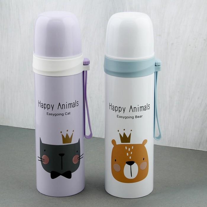 "Термос 500 мл ""Happy animals"", сохраняет тепло 8 ч, микс, 6.5х6.5х21.5 см"