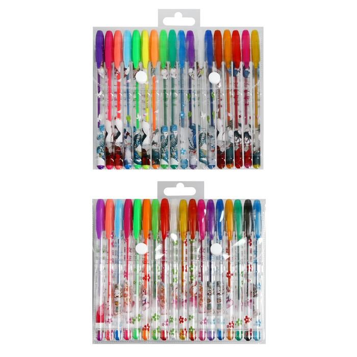 Набор гелевых ручек, 18 цветов, металлик, корпус с рисунком, в блистере на кнопке - фото 373644358