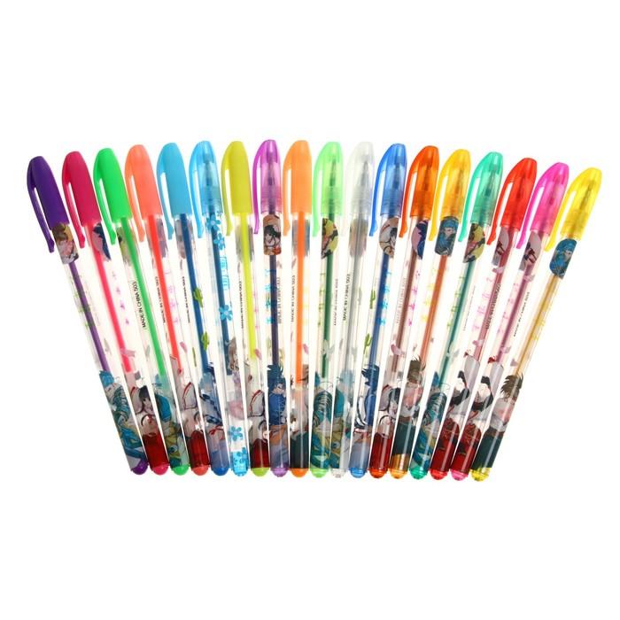 Набор гелевых ручек, 18 цветов, металлик, корпус с рисунком, в блистере на кнопке - фото 373644359