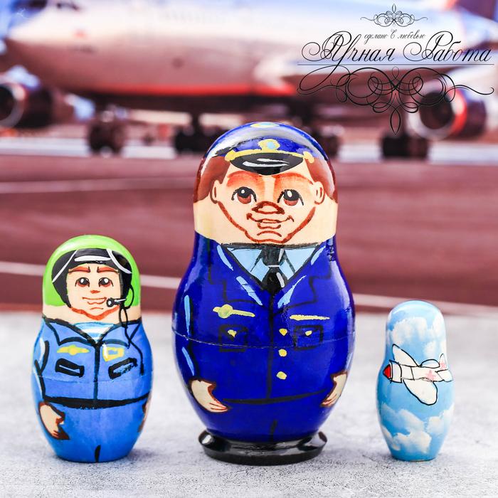 """Матрешка 3 кукольная """"Летчик"""" 11 см"""