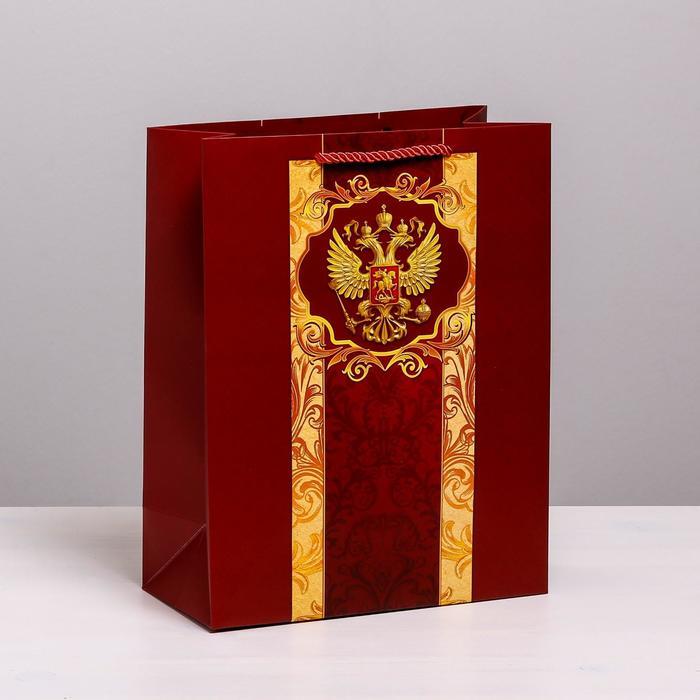 Пакет вертикальный «Герб Российской Федерации», 25 × 32 × 12 см
