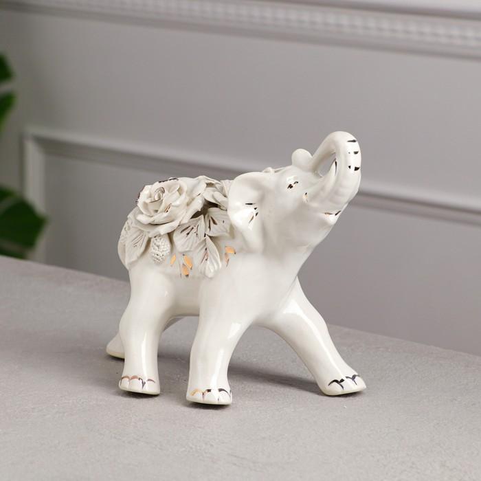 """Статуэтка """"Слон"""", белая лепка, микс"""