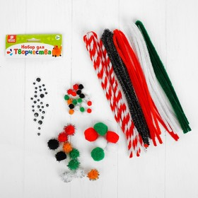 Creativity kit, wire with fleece, POM-poms, eyes No. 12, MIX color