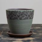 Горшок цветочный Кофе серо-зеленый крокус №2, 1,4 л - фото 818187