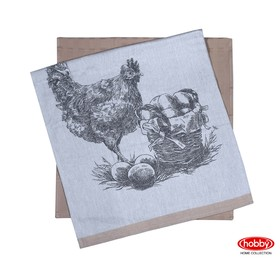Набор полотенец Hen, размер 50 × 70 см - 2 шт, светло-коричневый