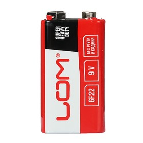 Батарейка солевая LOM Super Heavy Duty, 6F22, 9V, спайка, 1 шт Ош