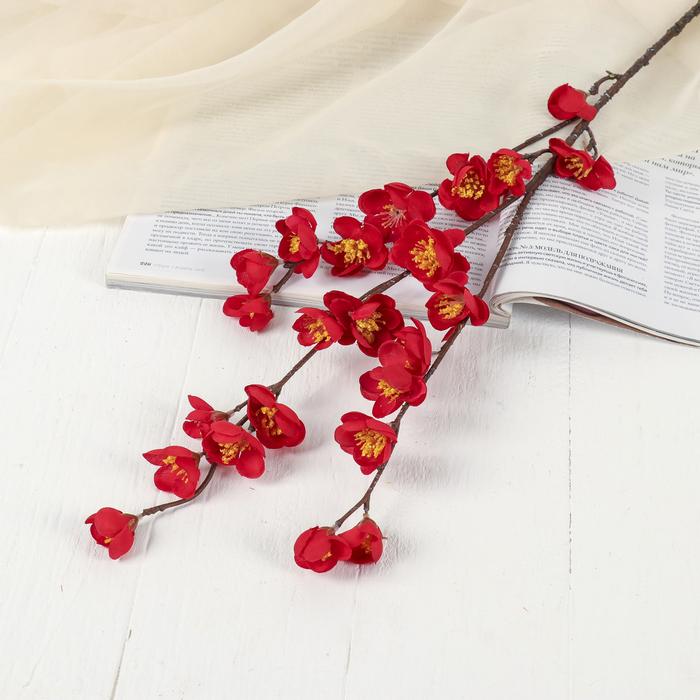 """Цветок искусственный """"Ветка сакуры"""" 3*80 см, красная"""