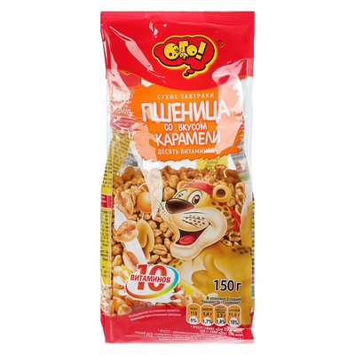 """ОГО! Сухой завтрак """"Пшеница с карамелью"""" 150 грамм (Шоу-бокс)"""