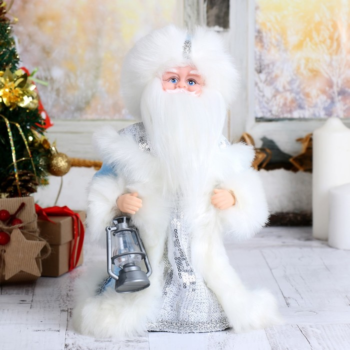 "Купеческий Курган, Дед Мороз 30 см ""Шик"", голубая шубка и свеча"