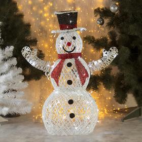 """Фигура светодиодная """"Снеговик с красным шарфом"""" 80 см, 100 LED, 220V, БЕЛЫЙ"""