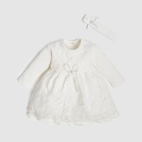 Набор: платье с длинным рукавом и повязка Крошка Я,1-3мес (50-62см),100 % хлопок