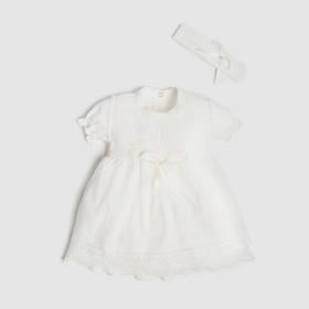 Набор: платье с коротким рукавом и повязка Крошка Я, 6-9 мес, (68-74 см),100 % хлопок