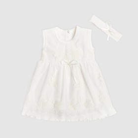 Набор: платье без рукавов и повязка Крошка Я, цвет белый, р.20, рост 56-62 см
