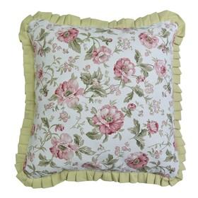 Подушка декоративная English rose с рюшей, размер 45х45 см, зелёный