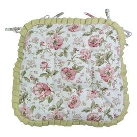 Сидушка на стул English rose с рюшами, размер 42х42 см зелёный