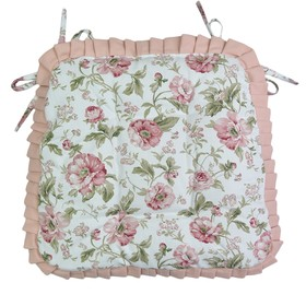 Сидушка на стул English rose с рюшами, размер 42х42 см розовый