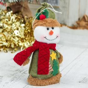 """Мягкая игрушка """"Снеговик с ёлочками"""" 8,5*14 см, зелёный"""