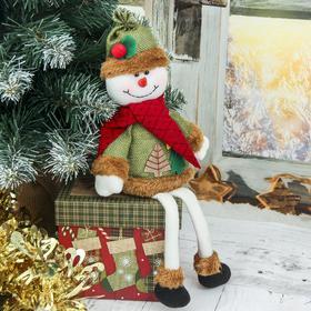 """Мягкая игрушка """"Снеговик с ёлочками - длинные ножки"""" сидит 8,5*28 см, зелёный"""