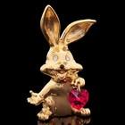 Сувенир «Кролик с сердцем», 2,5×2×5,5 см, с кристаллами Сваровски