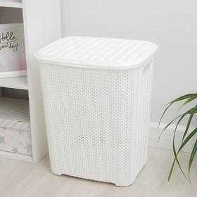 Корзина для белья с крышкой Виолет «Вязь», 60 л, 44×36×52 см, цвет белый