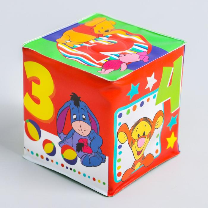 Мягкие кубики «Цифры», со свистулькой, Медвежонок Винии и его друзья р-р. 7*7см, для купания