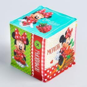 Мягкие кубики «Овощи и фрукты», со свистулькой, Минни Маус р-р. 7*7см, для купания