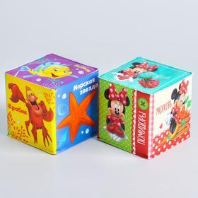 Мягкие кубики «Учим овощи-фрукты и морских жителей», со свистулькой, Дисней р-р. 7*7см, для купания (набор 2 шт)