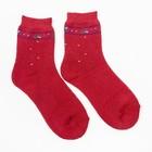 Носки женские махровые, цвет бордовый, размер 23-25