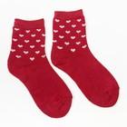 Носки женские махровые, цвет красный , размер 23-25
