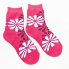 Носки женские махровые, цвет малиновый, размер 23-25