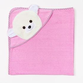 """Полотенце-уголок махровое с капюшоном """"Мишутка"""", (розовое), 80х80 см, хл100, 400 г/м"""