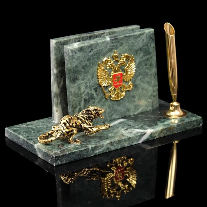 """Письменный набор """"Герб с тигром"""", змеевик"""