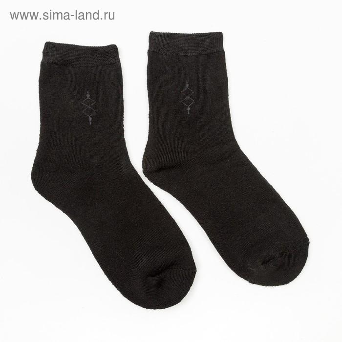 Носки мужские махровые, цвет чёрный, размер 25-27
