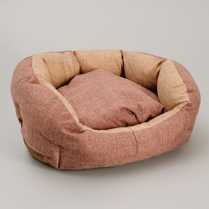 "Лежанка ""Комфорт"", 38 х 25 х 14 см, рогожка, коричневый"