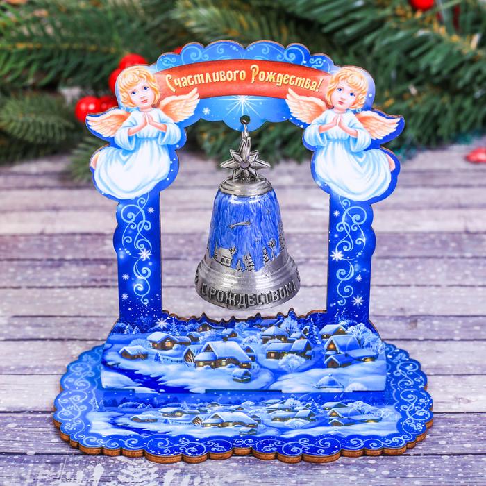 Колокольчик в деревянной рамке «Рождественская ночь»