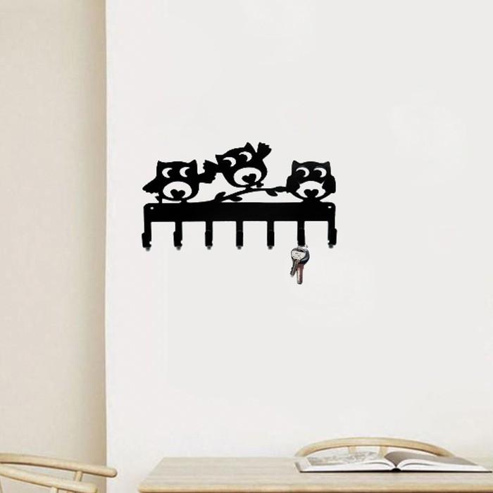 """Ключница металлическая """"Счастливые Совы"""" черная - фото 818229"""