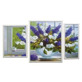 "Модульная картина ""Цветы в белом горшке"" 62*108 см (49х62, 23х53, 36х48)"