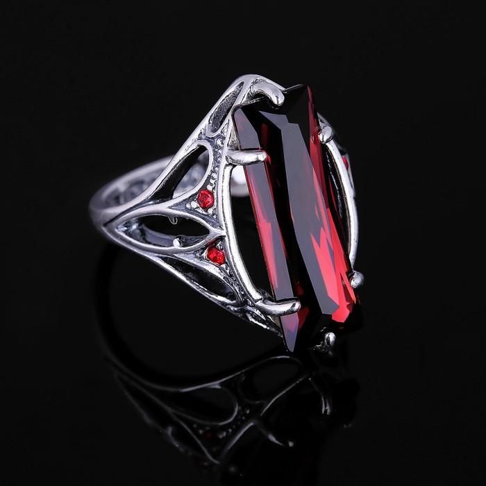 """Кольцо """"Неф"""", размер 18, цвет красный в чернёном серебре"""