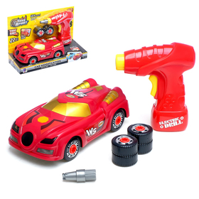 "Designer spiral ""sports Car"" with an electric screwdriver, 22 items"