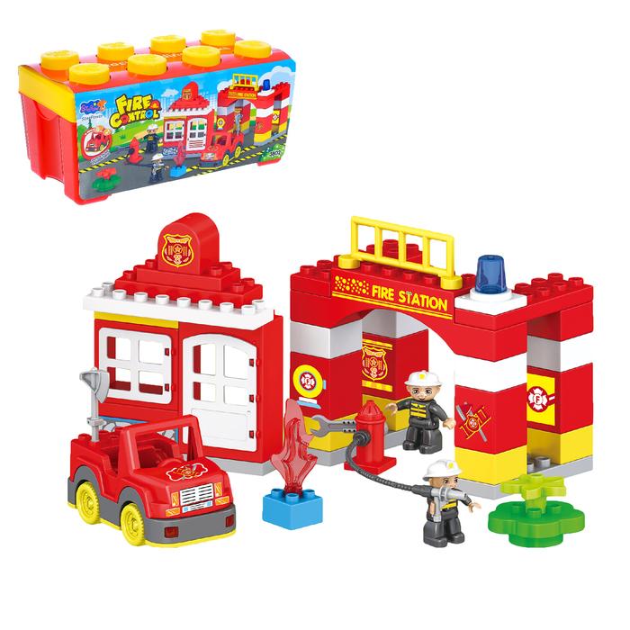 Конструктор «Пожарная станция», 50 деталей, световые и звуковые эффекты, работает от батареек