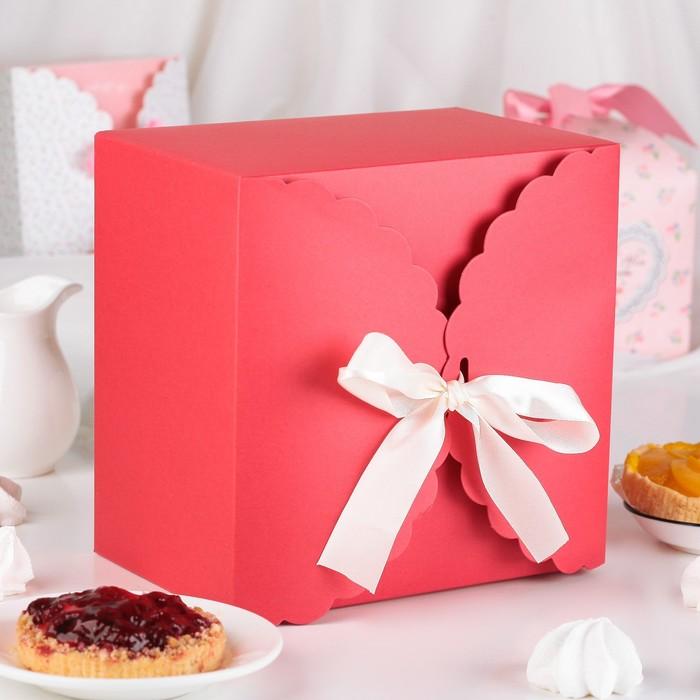 Коробка сборная для сладкого, красная, 22 х 22 х 14,5 см - фото 308275642