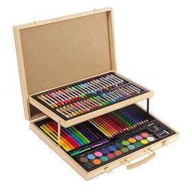 Набор для рисования в деревянной коробке, складной