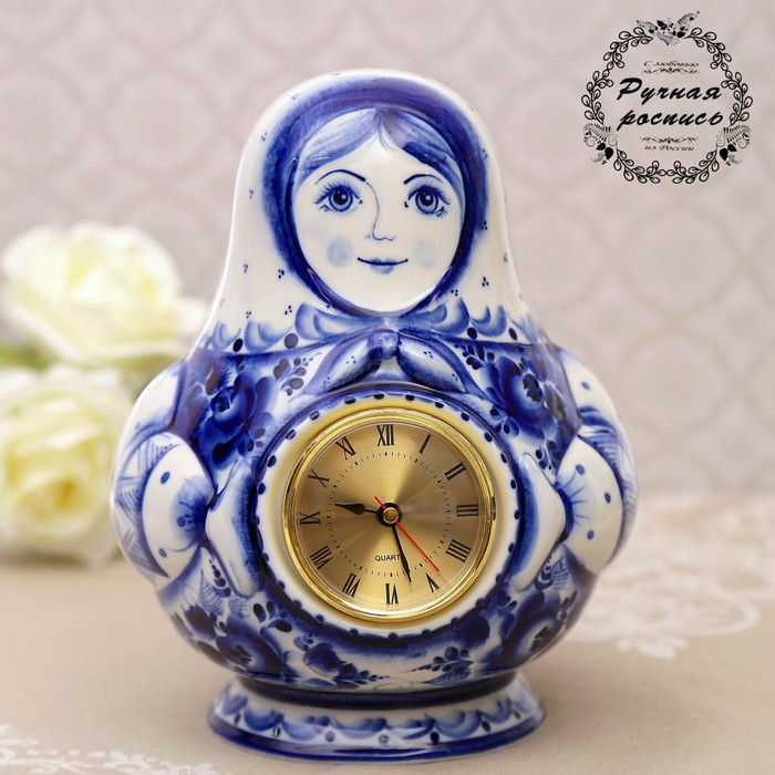 Часы «Матрёшка», 14×20 см, гжель